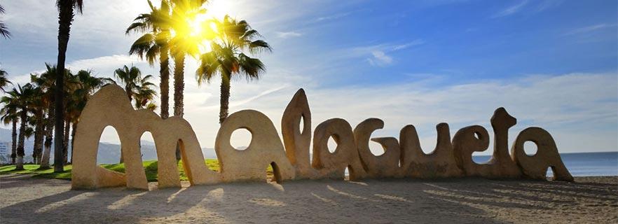 Logo de la Playa de la Malagueta en piedra