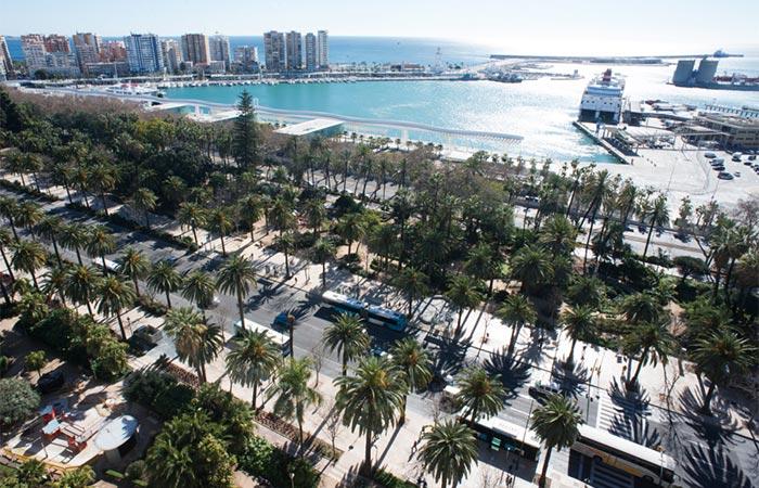 Vue aérienne du Parc de Malaga