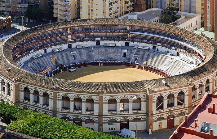 Flygfoto över Plaza de Toros de Malaga