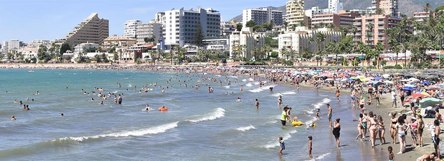 Panoramic image of the Beach of Malapesquera (Benalmadena)